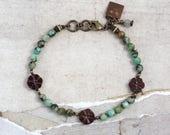 African turquoise bracelet Czech glass jewelry Flower jewelry Boho wedding jewelry Bracelets for stacking Cowgirl jewelry Flower bracelets