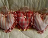 Hearts, fabric hearts, bowl fillers, ornaments, heart ornaments, shabby chic, country decor, heart bowl fillers, farmhouse decor,heart decor