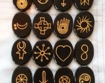 Huge Rare Handmade PROFESSIONAL Black JASPER 23 Stone Engraved WICCAN, Witch's Runes, Witchcraft, Pagan Symbol Set, With Velvet Pouch