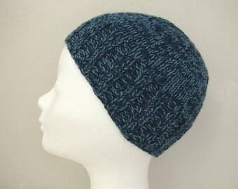Beanie, hand knit hat dark and gray/blue kids hat size 6 - 11 yrs silk alpaca multi color hat boy girl hat child navy beanie Snowy Hill hat