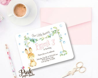 Bunny Birthday Invitation Girl • Birthday Bunny Invitation • Bunny Party Invite (Set of 2)