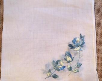 Sweet blue flowers, Vintage Handkerchief