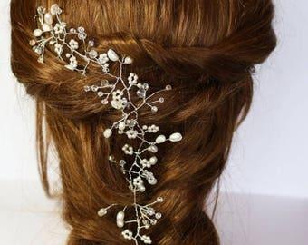 Sale Silver bridal hair vine, babies breath hair vine, wedding hair accessory, Ivory pearl & crystal hair vine, Gyp hair vine, boho bride,