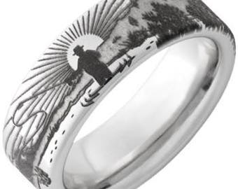 Fisherman Laser Engraved Serinium Ring