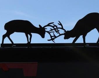 Fighting Deer Mailbox Topper, Metal Deer Mailbox Top, deer antler sign, tangled antlers, buck deer sign, deer mailbox, buck deer decor