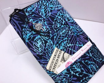Batik WIDE Zip Top Glasses Pouch, ROOMY Eyeglasses Case, Extra WIDE Eyeglass Case, Sunglasses Pouch, Soft Glasses Case