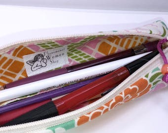 Skinny Pencil Case, Mod Floral Flat Pencil Pouch, Modern Skinny Pencil Pouch, Slim Zipper Pouch, Back to School