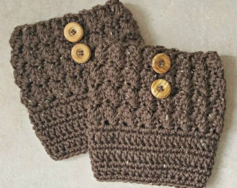 Women's Boot Cuffs - Brown Tweed - Crochet Boot Cuffs - Medium - Large - Plus Size