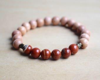 Red Jasper Bracelet / Root Chakra Bracelet / Genuine Gemstone Bracelet / Unique Gift / Beaded Bracelet / Yoga Bracelet / Meditation Bracelet