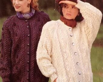 Knitting Pattern Ladies/Women's Cable Knit Aran Jacket/Cardigan size 34-42 86-107cm