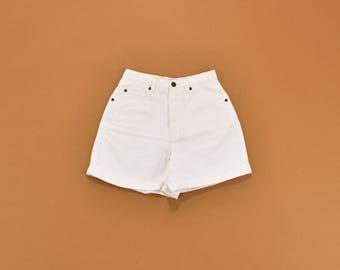 White Denim Shorts, White Jean Shorts, 90s Denim Shorts, High Waist Shorts, 90s Minimal Shorts, Womens Shorts Size 4