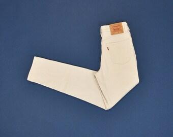 Beige Levis Jeans, Vintage Levis 512 Jeans, High Waisted Jeans, Slim Fit Tapered Leg Jeans, 90s Mom Jeans, Vtg 90s Levis Size 4