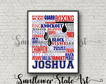 Personalized Boxing Poster, Boxer Gift Ideas, Boxing Gift, Boxing Team Gift, Boxing Boxer Sparring, Boxing Art, Boxer Art Typography