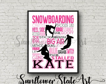 Personalized Snowboarder Poster, Snowboarding Poster, Snowboard Typography, Gift for Snowboarder, Snowboarding gift, Snowboard Gift