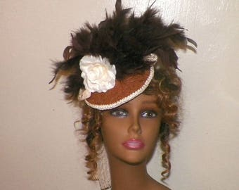 Victorian Fascinator Brown Cream Hat Headdress Gothic Feather Steampunk Lolita Costume Headpiece Old West  Marie Antoinette