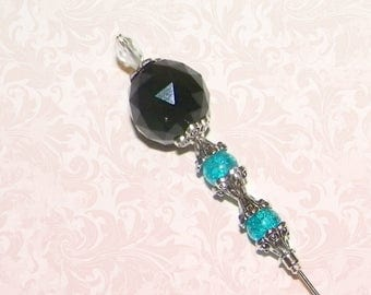 Black Hat Pin Vintage Blue Crystal Victorian Edwardian Vintage Style Glass Antique 6 Inch Steampunk Stick Lapel Pin With Protector