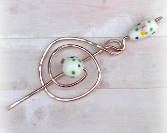Mimimalistic Shawl Pin Copper Celtic Brooch Beaded Vintage Hammered Minimalist  Style Scarf Pin  Stick Pin
