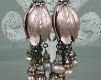 Blush vintaj flower with pearl and crystal tassel earrings. Men jewelry.