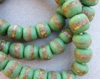 Green Kente Beads (13X11mm) [67853]