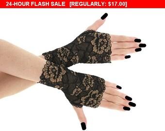 Sale 10% Lace black short fingerless gloves, bridal wedding wrist warmers burlesque goth vintage womens evening gloves, black lace glove