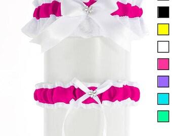 Garter wedding set, garter bridal, magenta white lace garter wedding, wedding lingerie, handmade satin garter, plus size bride garter PP13