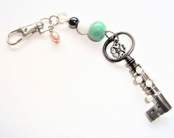 Antique Key Bag Accessory. Vintage key car mirror accessory. Vintage Key bag charm. Vintage bag charm. Pearls. Home decor. New home gift