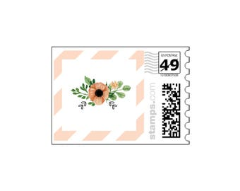 Peach Stripes Postage Stamps