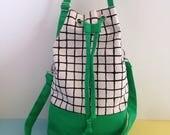 Screenprint Canvas Bucket Bag, Colour Block, Green Shoulder Bag, Grid Pattern Cross Body Bag