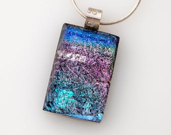 Brilliant Pink and Blue Dichroic Glass Necklace