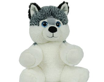 Recordable HUSKY DOG w/ 20 sec. digital recorder, recordable talking teddy bear, recordable stuffed animal, personalized teddy bear