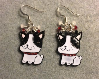 Black and white enamel Boston terrier charm earrings adorned with tiny dangling black, white, and red Chinese crystal beads.