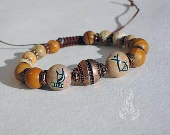 Men's Adjustable bracelet Shamballa bracelet Jasper bracelet For a fisherman's seaman Gemstone bracelet Christmas Boho bracelet Gift for him