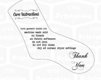 Sock care instructions SVG file care card