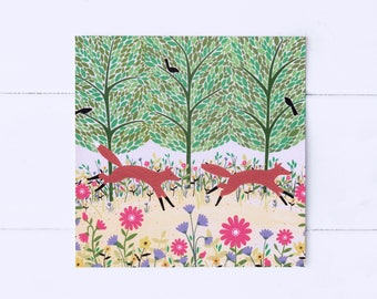 Summer Foxes Greeting Card | Fox Card | Fox Illustration | Fox Lover Gift | Foxy | Anniversary | Friendship Card | Fox Art | Woodland Art