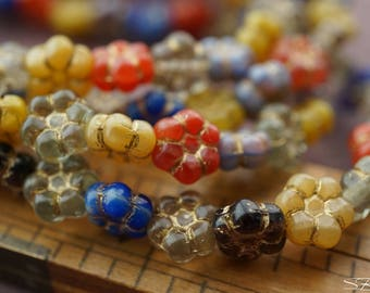 Mix of Poppies, Flower Beads, Czech Beads, N1856