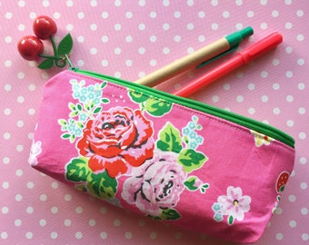 Pen & Pencil Pouch in Pink Roses