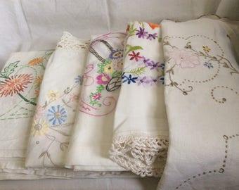A Set of 5 Vintage Square Cotton Tablecloths