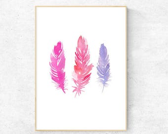 Pink Abstract Feather Watercolour A4 Print, Nursery print, A4 Digital Download