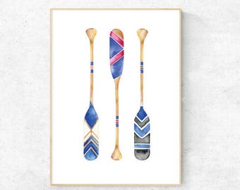 Boat Oar Blue and Red Watercolour, Nautical, Boats, Vintage Oars, Premium Print