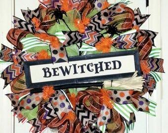 Bewitched Wreath, Halloween wreath, Burlap Halloween wreath, whimsical Halloween wreath, Fall wreath, Halloween decoration