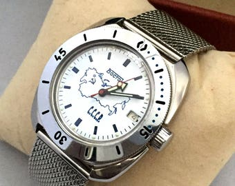 "RARE  ""VOSTOK AMPHIBIA"" Automatic Military gent's  watch. Vintage Russian Diving watch. Great gift for him, stainless-steel bracelet!"