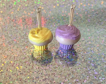 Clay cupcake charm - lemon or grape