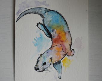 Hand Painted Otter - Ink and Watercolour