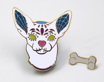 Sugar Skull Pin, Dia de Los Muertos, Day Of the Dead, Dog Enamel Pin, Halloween Accessories, Halloween Pin, Hard Enamel Pin, Christmas Gift