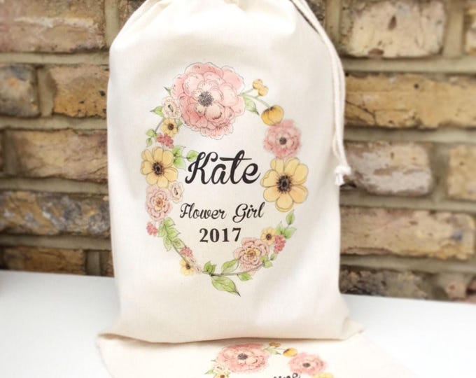 Personalised Hen party gift bags, pouches, keepsake bag, any wording. Bridesmaid, flower girl, maid of honour, wedding gift bag. Tote bag