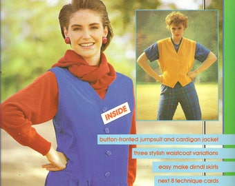 Make It Easy 80s Sewing Pattern No.5 Button-fronted Jumpsuit Cardigan Jacket Size 8-16
