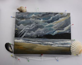 Metallic Stormy Skies and Seas - Original Acrylic Painting on Canvas. Ready to Hang, Wall Painting