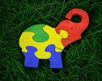 Wooden Puzzle Young Elephant, Puzzle Toys, Handmade Eco Friendly Toy, For Toddlers, Logic Toys, Wooden Toy, Natural, Organic and Safe Toy