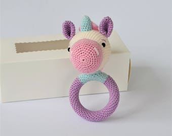 Unicorn Rattle, Best Teething Toy, Fairytale-Gift, Pregnancy Photoshoot, Crocheted Unicorn, Crocheted Rattle, Best Unicorn, baby rattles