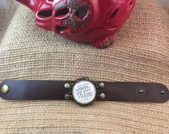 Handcrafted genuine leather cuff bracelet/leather cuff/inspirational jewelry
